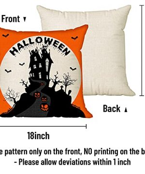 Halloween Spooky Pillow Cover 18 X 18 Set Of 4 With 4 Bonus Coasters Buffalo Check Pumpkin Scarecrow Truck Witch Castle Decorative Pillow Covers For Farmhouse Rustic Halloween Decor Indoor 0 0 300x360