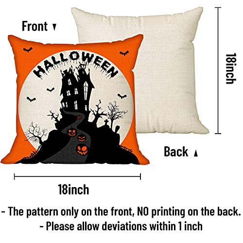 Halloween Spooky Pillow Cover 18 X 18 Set Of 4 With 4 Bonus Coasters Buffalo Check Pumpkin Scarecrow Truck Witch Castle Decorative Pillow Covers For Farmhouse Rustic Halloween Decor Indoor 0 0