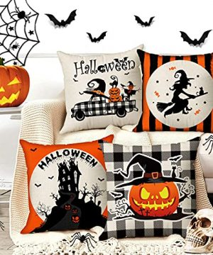 Halloween Spooky Pillow Cover 18 X 18 Set Of 4 With 4 Bonus Coasters Buffalo Check Pumpkin Scarecrow Truck Witch Castle Decorative Pillow Covers For Farmhouse Rustic Halloween Decor Indoor 0 1 300x360