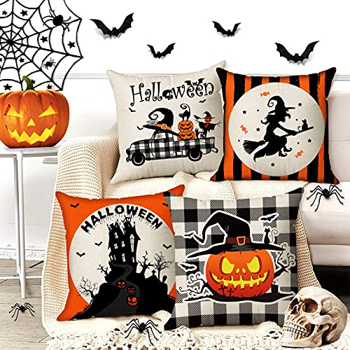 Halloween Spooky Pillow Cover 18 X 18 Set Of 4 With 4 Bonus Coasters Buffalo Check Pumpkin Scarecrow Truck Witch Castle Decorative Pillow Covers For Farmhouse Rustic Halloween Decor Indoor 0 1