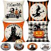 Halloween Spooky Pillow Cover 18 X 18 Set Of 4 With 4 Bonus Coasters Buffalo Check Pumpkin Scarecrow Truck Witch Castle Decorative Pillow Covers For Farmhouse Rustic Halloween Decor Indoor 0 100x100