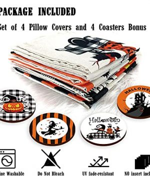 Halloween Spooky Pillow Cover 18 X 18 Set Of 4 With 4 Bonus Coasters Buffalo Check Pumpkin Scarecrow Truck Witch Castle Decorative Pillow Covers For Farmhouse Rustic Halloween Decor Indoor 0 2 300x360