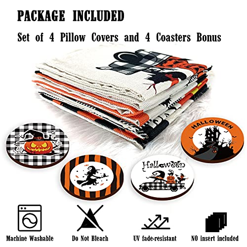 Halloween Spooky Pillow Cover 18 X 18 Set Of 4 With 4 Bonus Coasters Buffalo Check Pumpkin Scarecrow Truck Witch Castle Decorative Pillow Covers For Farmhouse Rustic Halloween Decor Indoor 0 2