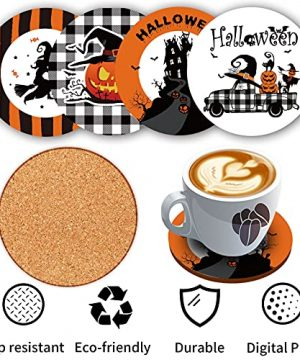 Halloween Spooky Pillow Cover 18 X 18 Set Of 4 With 4 Bonus Coasters Buffalo Check Pumpkin Scarecrow Truck Witch Castle Decorative Pillow Covers For Farmhouse Rustic Halloween Decor Indoor 0 3 300x360