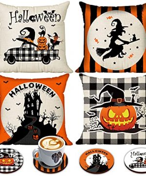 Halloween Spooky Pillow Cover 18 X 18 Set Of 4 With 4 Bonus Coasters Buffalo Check Pumpkin Scarecrow Truck Witch Castle Decorative Pillow Covers For Farmhouse Rustic Halloween Decor Indoor 0 300x360