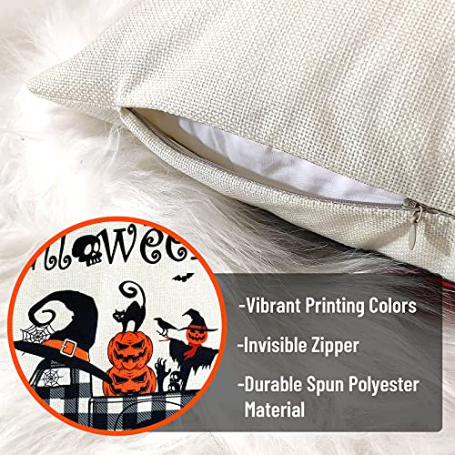 Halloween Spooky Pillow Cover 18 X 18 Set Of 4 With 4 Bonus Coasters Buffalo Check Pumpkin Scarecrow Truck Witch Castle Decorative Pillow Covers For Farmhouse Rustic Halloween Decor Indoor 0 4