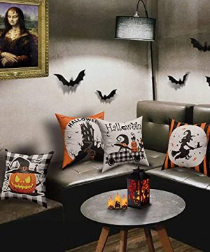 Halloween Spooky Pillow Cover 18 X 18 Set Of 4 With 4 Bonus Coasters Buffalo Check Pumpkin Scarecrow Truck Witch Castle Decorative Pillow Covers For Farmhouse Rustic Halloween Decor Indoor 0 5 300x360