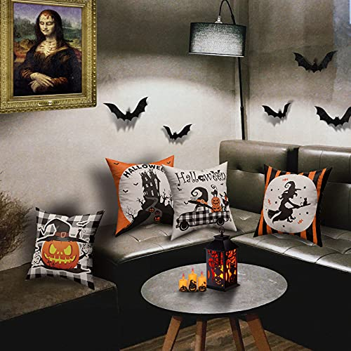 Halloween Spooky Pillow Cover 18 X 18 Set Of 4 With 4 Bonus Coasters Buffalo Check Pumpkin Scarecrow Truck Witch Castle Decorative Pillow Covers For Farmhouse Rustic Halloween Decor Indoor 0 5