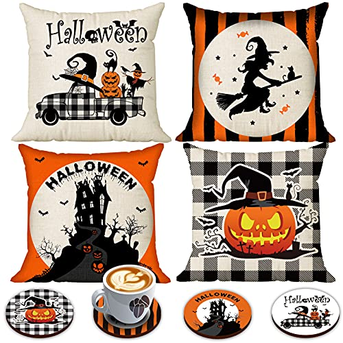 Halloween Spooky Pillow Cover 18 X 18 Set Of 4 With 4 Bonus Coasters Buffalo Check Pumpkin Scarecrow Truck Witch Castle Decorative Pillow Covers For Farmhouse Rustic Halloween Decor Indoor 0