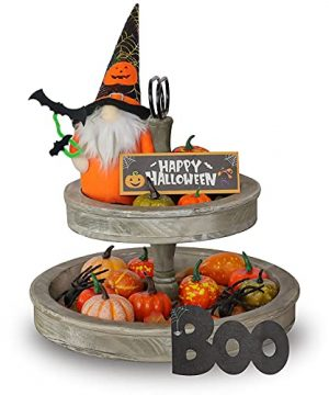 Halloween Tiered Tray Decoration 44 PCS Artificial Pumpkins Halloween Gnomes Plush Pumpkins Maple Leaves Spiders Wooden Sign Boo Halloween Table Decor For Fall Tiered Tray Farmhouse Home Party House 0 300x360