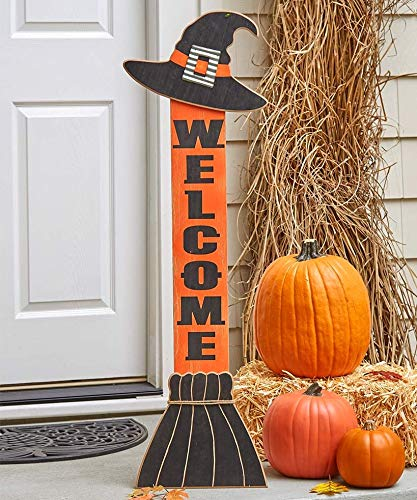 Halloween Witch Hat Welcome Sign For Leaning On The Front Porch 0 1