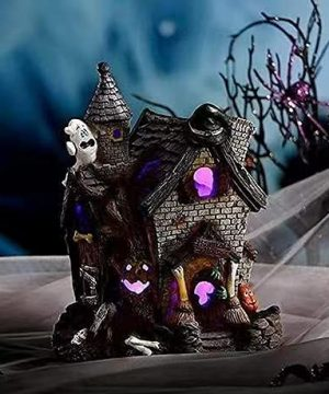 Halloween Witch House Statue Pumpkin Halloween Decoration Led Glowing Witch House Halloween Home Garden Decoration 0 300x360