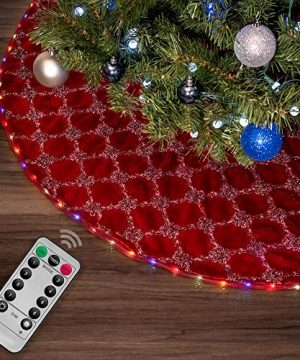 Halo Christmas Tree Skirt With Programmable LED Lights 55 Red Faux Fur Hatched 0 300x360
