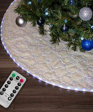 Halo Christmas Tree Skirt With Programmable LED Lights 55 White Faux Fur Hatched 0 300x360