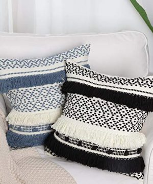 Handmade Boho Decorative Throw Pillow Cover 18x18 Inch Square Soft Cushion Cover For Sofa Couch Bedroom Modern Accent Farmhouse Striped Pillow Case Blue Cream 0 2 300x360