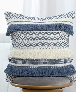 Handmade Boho Decorative Throw Pillow Cover 18x18 Inch Square Soft Cushion Cover For Sofa Couch Bedroom Modern Accent Farmhouse Striped Pillow Case Blue Cream 0 300x360