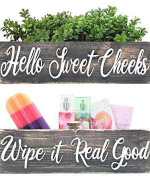 Hello Sweet Cheeks Bathroom Box Funny Sayings On Both Sides Cute Toilet Paper Holder Perfect For Country Rustic Farmhouse Style Shabby Chic And Boho Decor Wipe It Real Good 0 300x360
