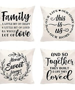 Hexagram Farmhouse Decor Throw Pillow Covers 18x18 Set Of 4 This Is Us Family Saying Outdoor Square Pillow Cushion Cases Decorative Home Pillow Cover For Sofa Couch Bedroom Porch Car Linen 0 300x360