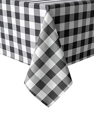 Hiasan 60 X 120 Inch Checkered Tablecloth Rectangle Stain Resistant Spillproof And Washable Gingham Table Cloth For Outdoor Picnic Kitchen And Holiday Dinner Black And White 0 300x360