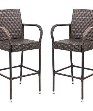 Homall Patio Bar Stools Wicker Barstools Indoor Outdoor Bar Stool Patio Furniture With Footrest And Armrest For Garden Pool Lawn Backyard Set Of 2 Brown 0 300x360