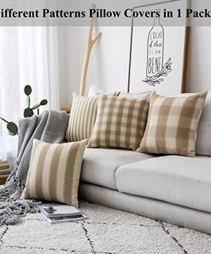 Home Brilliant Decorative Throw Pillow Covers Set Of 5 Rustic Fall Decoration Farmhouse Striped Textured Linen Burlap Pillow Cases Cushion Cover For Couch Oatmeal 18x18 Inch 45cm 0 0 300x360