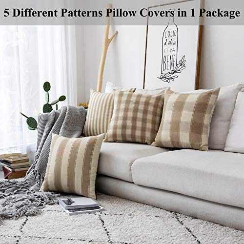 Home Brilliant Decorative Throw Pillow Covers Set Of 5 Rustic Fall Decoration Farmhouse Striped Textured Linen Burlap Pillow Cases Cushion Cover For Couch Oatmeal 18x18 Inch 45cm 0 0