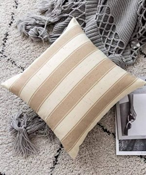 Home Brilliant Decorative Throw Pillow Covers Set Of 5 Rustic Fall Decoration Farmhouse Striped Textured Linen Burlap Pillow Cases Cushion Cover For Couch Oatmeal 18x18 Inch 45cm 0 1 300x360