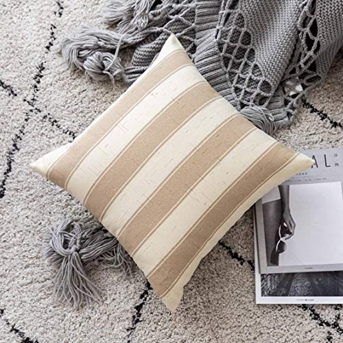 Home Brilliant Decorative Throw Pillow Covers Set Of 5 Rustic Fall Decoration Farmhouse Striped Textured Linen Burlap Pillow Cases Cushion Cover For Couch Oatmeal 18x18 Inch 45cm 0 1