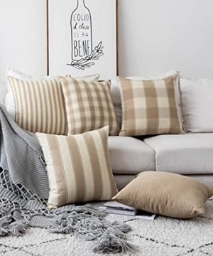 Home Brilliant Decorative Throw Pillow Covers Set Of 5 Rustic Fall Decoration Farmhouse Striped Textured Linen Burlap Pillow Cases Cushion Cover For Couch Oatmeal 18x18 Inch 45cm 0 300x360