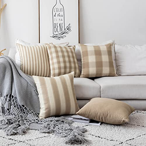 Home Brilliant Decorative Throw Pillow Covers Set Of 5 Rustic Fall Decoration Farmhouse Striped Textured Linen Burlap Pillow Cases Cushion Cover For Couch Oatmeal 18x18 Inch 45cm 0