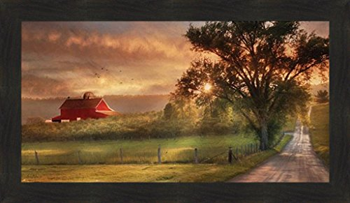 Home Cabin Decor Country Lane Sunset By Lori Deiter 20x34 Red Barn Farm Evening Sun Fields Framed Print Picture 0