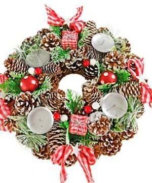 Home X Gingham Pinecone Christmas Wreath Candle Holder Artificial Advent Wreath Winter Home Decorations 13 Diameter 0 300x360