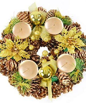 Home X Golden Pinecone Christmas Wreath Candle Holder Artificial Advent Wreath Winter Home Decorations 11 Diameter 0 300x360