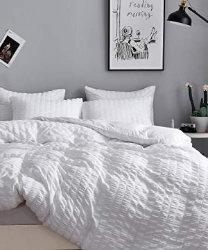 HoneiLife Duvet Cover Twin Size 2 Pieces Thickened Seersucker Comforter Cover 100 Washed Microfiber Bedding Set With Zipper Closure Corner TiesBreathable Wrinkle Free Duvet Cover Sets White 0 300x360