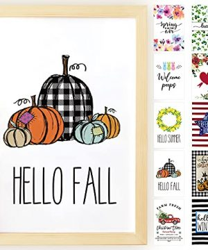 Horaldaily Wall Decor Signs With 10 Interchangeable Seasonal Holiday Sayings Fall Halloween Thanksgiving Farmhouse Burlywood Solid Wood Framed Printed Sign With HD Plexiglass 11 X 16 Inch 0 300x360