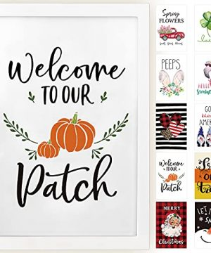 Horaldaily Wall Decor Signs With 10 Interchangeable Seasonal Holiday Sayings Fall Thanksgiving Halloween Summer Farmhouse White Solid Wood Framed Printed Sign With HD Plexiglass 11 X 16 Inch 0 300x360