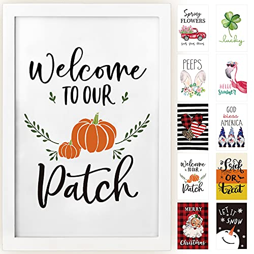 Horaldaily Wall Decor Signs With 10 Interchangeable Seasonal Holiday Sayings Fall Thanksgiving Halloween Summer Farmhouse White Solid Wood Framed Printed Sign With HD Plexiglass 11 X 16 Inch 0