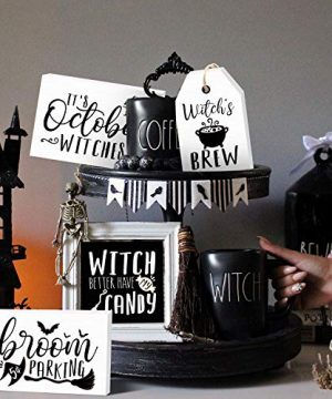 Huray Rayho Halloween Witches Tiered Tray Decorations Rustic Halloween Poison Candy Bar Signs Vintage Black And White Rae Dunn Decor Farmhouse Autumn Fall Supplies Set Of 4 0 300x360