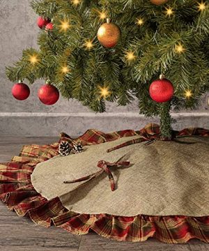 Ivenf Christmas Tree Skirt 48 Inches Large Burlap With Plaid Ruffle Trim Skirt Rustic Xmas Tree Holiday Decorations 0 300x360