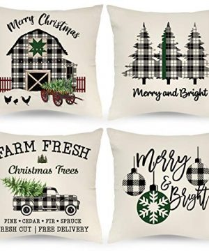 JAZIPO Christmas Pillow Covers 22x22 Inch 4 Sets For Farmhouse Christmas Decor Black And White Buffalo Plaid Linen Check Christmas Throw Pillows Cases For Home Outdoor Christmas Decorations 0 300x360