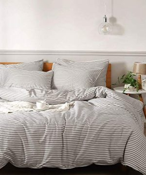JELLYMONI 100 Natural Cotton 2pcs Striped Duvet Cover SetsWhite Duvet Cover With Grey Stripes Pattern Printed Comforter Coverwith Zipper Closure Corner TiesTwin Size 0 300x360
