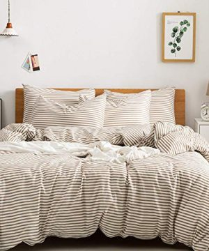 JELLYMONI 100 Natural Cotton 3pcs Striped Duvet Cover SetsWhite Duvet Cover With Khaki Stripes Pattern Printed Comforter Coverwith Zipper Closure Corner TiesFull Size 0 300x360