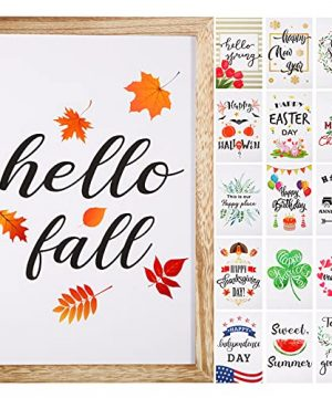 Jetec Farmhouse Wall Decor Signs With 16 Interchangeable Seasonal Sayings For Home Decor Rustic Wood Picture Frame With 16 Designs For Fall Autumn Halloween Christmas Decor Burlywood 0 300x360