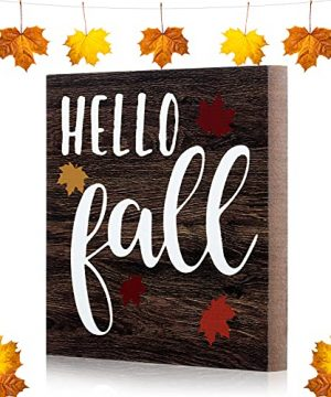 Jetec Hello Fall Wood Decor Maple Leaf Welcome Sign Autumn Wood Plaque Fall Porch Wall Sign Rustic Farmhouse Wood Sign For Home Garden Yard Indoor Outdoor Garden Decorations 0 300x360