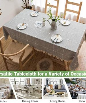 Joy Fabric Cotton Linen Tablecloths Wrinkle Free Anti Fading Table Cloth Tassel Square Indoor Outdoor Dining Table Cover Grey Checkered 55 X 55 Inch 0 0 300x360