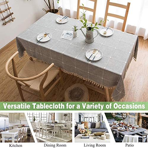 Joy Fabric Cotton Linen Tablecloths Wrinkle Free Anti Fading Table Cloth Tassel Square Indoor Outdoor Dining Table Cover Grey Checkered 55 X 55 Inch 0 0