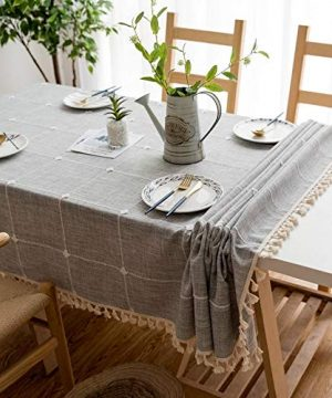 Joy Fabric Cotton Linen Tablecloths Wrinkle Free Anti Fading Table Cloth Tassel Square Indoor Outdoor Dining Table Cover Grey Checkered 55 X 55 Inch 0 1 300x360