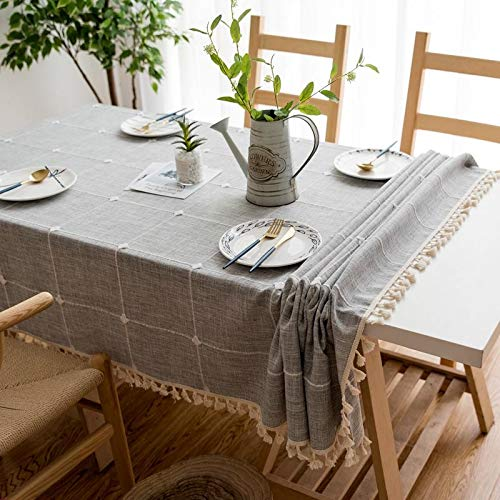 Joy Fabric Cotton Linen Tablecloths Wrinkle Free Anti Fading Table Cloth Tassel Square Indoor Outdoor Dining Table Cover Grey Checkered 55 X 55 Inch 0 1