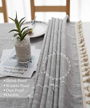 Joy Fabric Cotton Linen Tablecloths Wrinkle Free Anti Fading Table Cloth Tassel Square Indoor Outdoor Dining Table Cover Grey Checkered 55 X 55 Inch 0 2 300x360