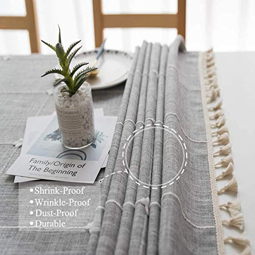Joy Fabric Cotton Linen Tablecloths Wrinkle Free Anti Fading Table Cloth Tassel Square Indoor Outdoor Dining Table Cover Grey Checkered 55 X 55 Inch 0 2